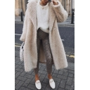 Womens Fashion Long Sleeve Open Front Plain Beige Longline Faux Fur Hooded Overcoat