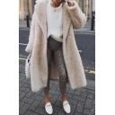 Womens Fashion Long Sleeve Open Front Plain Beige Longline Faux Fur Hooded Overcoat