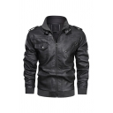Mens Fashion Solid Color Long Sleeve PU Leather Zip Up Biker Jacket with Pocket