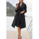 Womens Elegant Black Solid Color Long Sleeve Notched Collar Tied Waist Longline Wool Overcoat Trench Coat