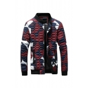 Mens Stylish Color Block Geometric Pattern Long Sleeve Stand Collar Slim Fit Zipper Casual Padded Jacket