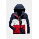 Mens New Trendy Color Block Letter Printed Long Sleeve Zip Up Slim Fit Casual Hooded Track Jacket