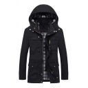 Mens Fashionable Plaid Lined Long Sleeve Zip Closure Longline Workwear Jacket Coat with Hood