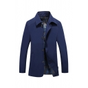 Simple Dark Blue Solid Lapel Collar Long Sleeve Button Down Casual Shirt Jacket for Men