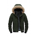 Winter Fashion Army Green Pleated Long Sleeve Flap Pocket Zip Up Fur Trimmed Hood Warm Jacket Coat