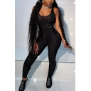 Womens Fashionable Sheer Mesh Patchwork Sports Suit Black Sexy Bodycon Tank Jumpsuits