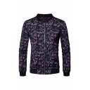 Mens Cool Allover Monster Printed Long Sleeve Stand Up Collar Zip Up Casual Jacket Coat