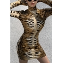 Womens Fashion Tiger Print High Collar Long Sleeve Yellow Mini Bodycon Dress with Gloves