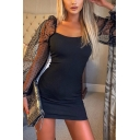 Womens Elegant Plain Square Neck Polka Dot Printed Mesh Patch Puff-Sleeve Mini Fitted Night Club Dress