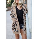 Womens Stylish Leopard Printed Long Sleeve Open Front Tunic Knitted Cardigan