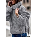 Womens Popular Solid Color Roll Neck Bell Sleeve Loose Fit Knitted Casual Pullover Sweater