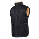 Mens Popular High Collar Sleeveless Zip Placket Faux Fur Lined Down Jacket Vest with Flap Pocket