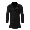 Winter New Fashion Notched Collar Epaulets Long Sleeve Single Breasted Plain Fitted Wool Coat with Belt