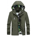 Mens Spring Popular Army Green Letter Print Waterproof Long Sleeve Zip Up Hooded Track Jacket Coat
