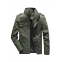 Mens Popular Army Green High Collar Epaulets Long Sleeve Zipper Embellished Casual Utility Jacket Coat
