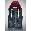 Mens New Fashionable Color Block Detachable Hood Single Breasted Blue Denim Casual Vest with Pocket