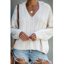 Ladies Unique V Neck Long Sleeve Loose Fit Cable Knit Hooded Sweater Top