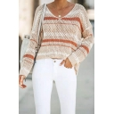 Womens Sexy Striped Long Sleeve Loose Pointelle Knit Apricot Pullover Sweater Cover-Up