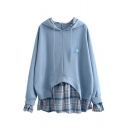 Girls Blue Fashionable Unicorn Embroidery Printed Fake Two Piece Checked Patchwork Oversized Drawstring Hoodie