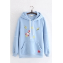 Womens Casual Cartoon Rocket Printed Long Sleeve Kangaroo Pocket Drawstring Hoodie