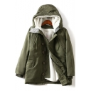 Womens Fashionable Plain Long Sleeve Button Down Drawstring Hood Warm Tunic Padded Coat Parka