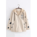 Womens Casual SWEET MILK Cow Printed Long Sleeve Zip Up Oversized Hooded Jacket Coat