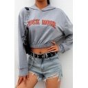 Gray ROCK MORE Letter Printed Long Sleeve Elastic Hem Leisure Cropped Hoodie