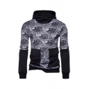 Stylish Sea Wave Pattern Panel Long Sleeve Flap Pocket Fitted Pullover Hoodie for Men