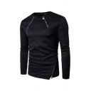 Plain Black Allover Embossed Pattern Zipper Embellished Long Sleeve Fitted Casual Pullover Sweatshirt