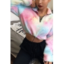 Womens Fashionable Colorful Tie Dye Printed Lapel Collar Half Zip Cashmere Cropped Sweatshirt