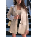 Womens Elegant Long Sleeve Single Breasted Khaki Longline Loose Suit Coat with Flap Pocket