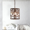 Pumpkin/Snowflake/Branch Suspension Pendant Rustic 1 Light Hanging Lamp with Metal Cage in Rust