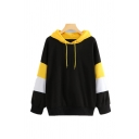 Womens Stylish Color Block Long Sleeve Loose Casual Thick Drawstring Hoodie