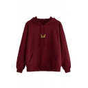 Womens Classic Butterfly Pattern Long Sleeve Loose Drawstring Hoodie with Pocket