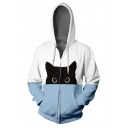 Lovely Black Cat 3D Printed Long Sleeve Zip Up Side Pocket Blue & White Casual Drawstring Hoodie