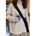 Womens Retro Stripes Printed High Collar Long Sleeve Beige Oversized Chic Top
