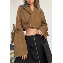 Women Casual Bow Tied Flare Sleeve Notched Lapel Single Button Brown Crop Utility Jacket