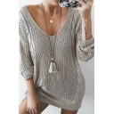 Womens Fashion Gray V-Neck Long Sleeve Loose Fit Cable Knit Longline Pullover Sweater
