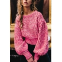 Womens Fashion Rose Red Crew Neck Puff Sleeve Short Pullover Sweater