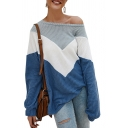 Womens Fashion Color Block Chevron Printed Boat Neck Long Sleeve Loose Pullover Sweater Knitwear
