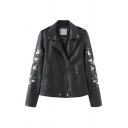Chic Floral Embroidery Printed Buttoned Epaulet Design Long Sleeve Inclined Zipper PU Leather Black Loose Motor Jacket