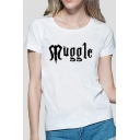 Cute Letter MUGGLE Printed Short Sleeve Round Neck Slim Fit  Casual Tee Top for Women