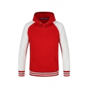 Red and White Rib Cuff Raglan Long Sleeve Casual Drawstring Hoodie