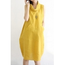 Womens Plain Yellow Cocoon Sleeveless Turtle Neck Casual Midi Daily Dress with Pocket