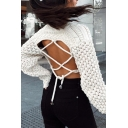 Womens Sexy Round Neck Hollow Out Lace Up Back Drop Shoulder Long Sleeve White Cropped Chunky Sweater