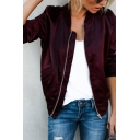 Womens New Casual Stand Collar Long Sleeve Zip Up Plain Leisure Jacket