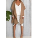 Ladies Simple Solid Color Long Sleeve Open Front Medium Length Belted Woolen Coat
