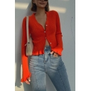 Womens Sexy Plain Stringy Selvedge Long Sleeve Button Fly Slim Fit Short Cardigan Top
