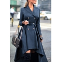 Ladies Fashion Solid Color Double Breasted Long Sleeve High Low Asymmetric Trench Coat