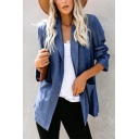Womens Casual Blue Long Sleeve Notch Collar Single Breasted Loose Thin Blazer Coat with Pocket